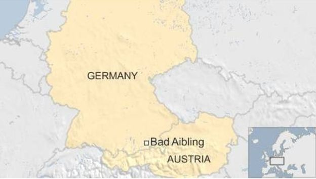 Map of Germany showing Bad Aibling, town where train crash happened - February 2016